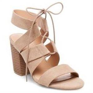 Taupe Tie-Up Block Heel